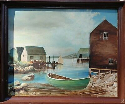 ANTIQUE REALISM AMERICAN FRAMED OIL ON CANVAS PAINTING OF LANDSCAPE SIGNED