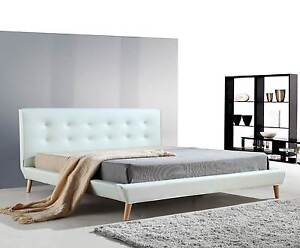 ON SALE - King PU Leather Deluxe Bed Frame White Melbourne CBD Melbourne City Preview