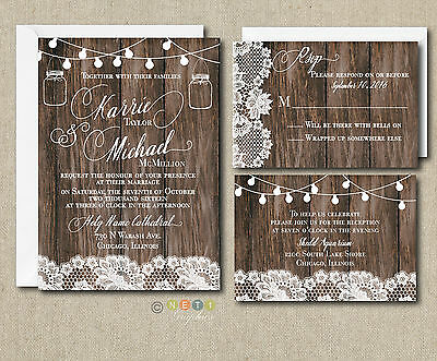 Wedding Invitation Sets (Wedding Invitation Set Rustic Lace & Lights with Envelopes 100)