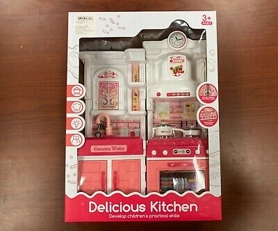 NEW Delicious Kitchen Play Set with Sink, Stove, and Cabinets NEW
