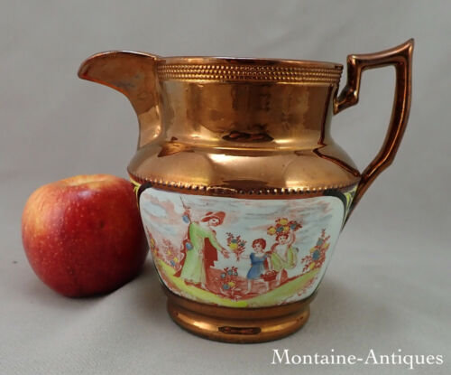 Larger Copper Luster Jug With Canary Band c. 1825