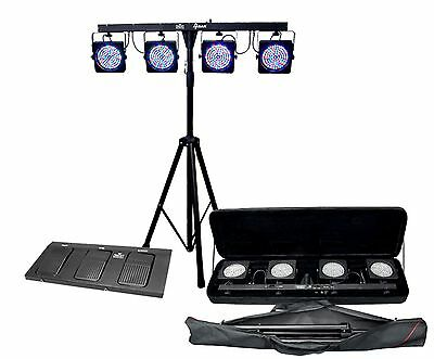 Chauvet 4 Bar 4Bar Dmx Led Stage Wash Light System W  Case  Foot Switch   Tripod