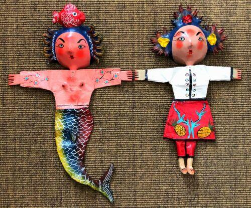 2 MEXICAN GUERRERO FOLK ART FRIDA KAHLO MERMAID COCONUT MASK WALL ART FIGURES