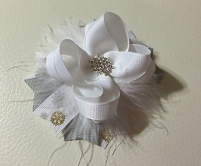 Handmade White /Grey Christmas Snowflakes Stacked Boutique Hair Bows ()