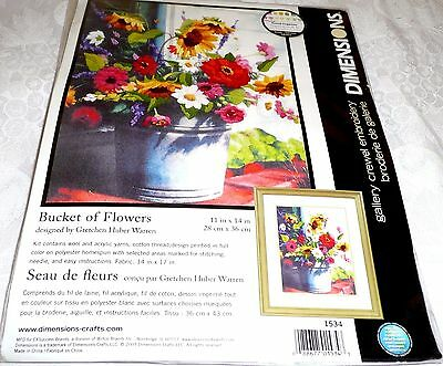 "Dimensions Crewel Embroidery Kit BUCKET OF FLOWERS 11"" x 14"""