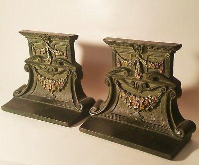ARTS & CRAFTS antique cast iron bookends vtg cjo judd neoclassical desk book art