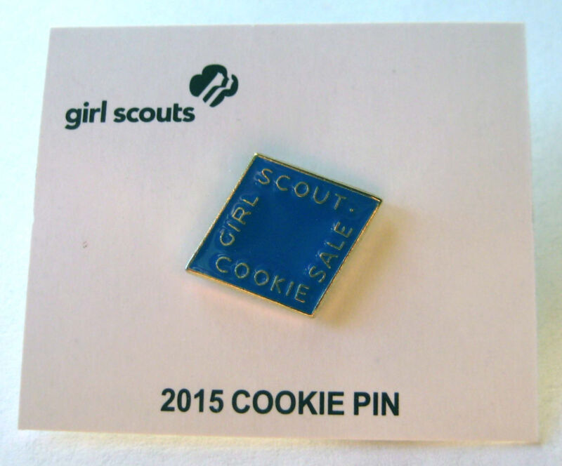 Girl Scout 2015 COOKIE SALE Electric Blue PIN Diamond Brownie Junior Cadette NEW
