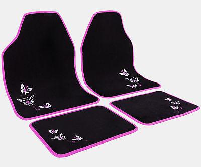 Universal Auto Fußmatten Matten ALU Look Riffelblech 4 teilige Set Pink AM7161