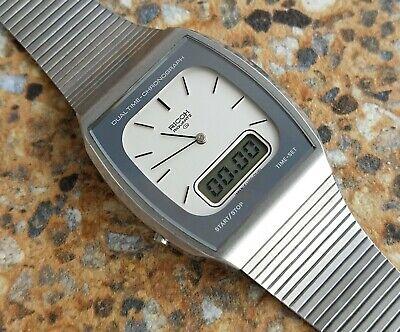 Vintage Ricoh Riquartz Quartz Chronograph Analogue Digital Watch Mirrored