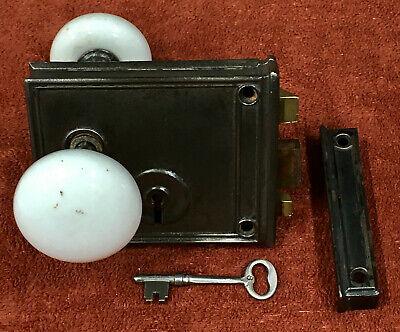 "Door Knobs Eastlake White Porcelain RIM LOCK Style Iron FITTINGS 2 1//4/"" per pr"