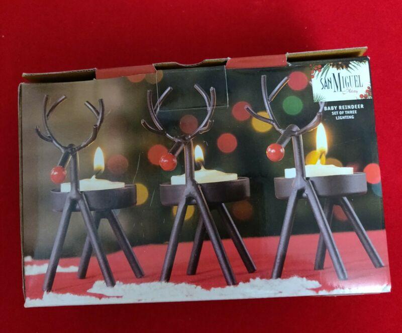 San Miguel Christmas Baby Reindeer Metal Sculpture Candle Holders Set/3 NIP