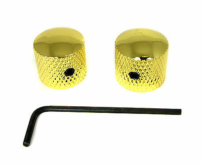 2-pack Gold Dome Knobs with Set Screw for Guitar & Cigar Box Guitar
