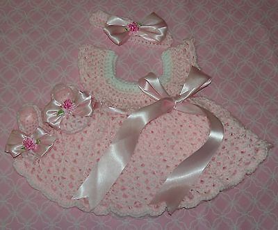 - SALE Handmade Crochet BABY DRESS ,HEADBAND-BOOTIES PINK by ROCKY MOUNTAIN MARTY