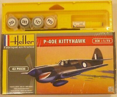 Heller 1/72 P40E Kittyhawk Aircraft Model Kit Gift Set w/ Paint Glue