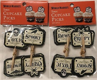 24 World Market Halloween Cupcake Toppers SPOOKY CREEPY TOXIC BEWARE Paper NIP - World Market Halloween