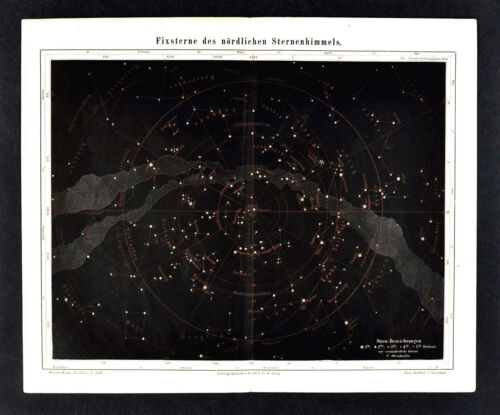 1875 Meyer Map Astronomy Star Chart Northern Sky Constellations Zodiac Universe