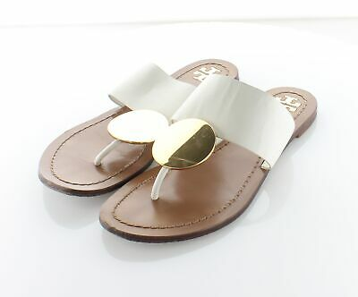 52-56 $248 Women's Sz 5.5 M Tory Burch Patos Gold Disk Leather Sandals In Ivory