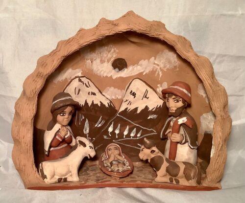 Unique Vintage South American Handmade Clay Pottery Folk Art Nativity Scene
