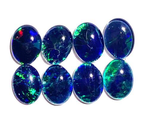 Birth Stone Opal 8x6mm Lightning Ridge Natural Triplet Opal Stones 8 Pieces JY3