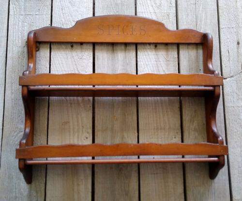 Vintage Primitive Mid Century Scalloped Wood 2 Tier Spice Rack Wall Shelf