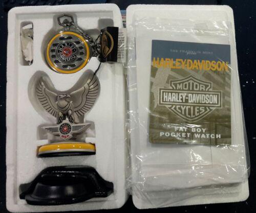Franklin Mint Harley Davidson Fat Boy Pocket Watch Set B20XR95