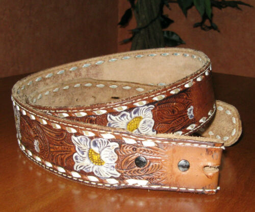 Vintage Tony Lama 48686 Genuine Leather Belt Saddle Brown Western Floral Tooled
