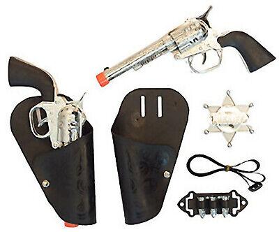 10-teiliges Cowboy Kinder Set Pistolen Holster Sheriffstern Gürtel Fakepatronen