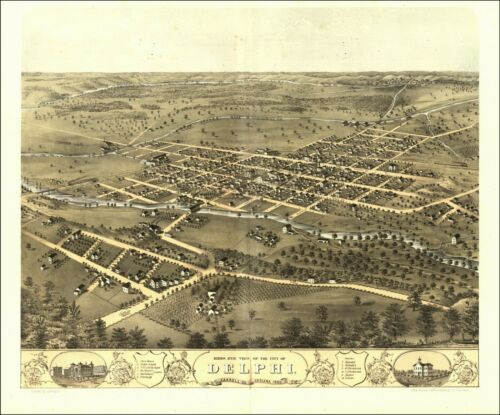 1868 DELPHI CARROLL INDIANA panoramic map GENEALOGY poster IN3
