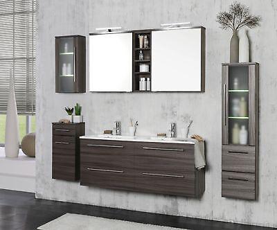 Badmöbelset MAILAND Badezimmerset Badset mit Doppel-Waschtisch eiche dunkel