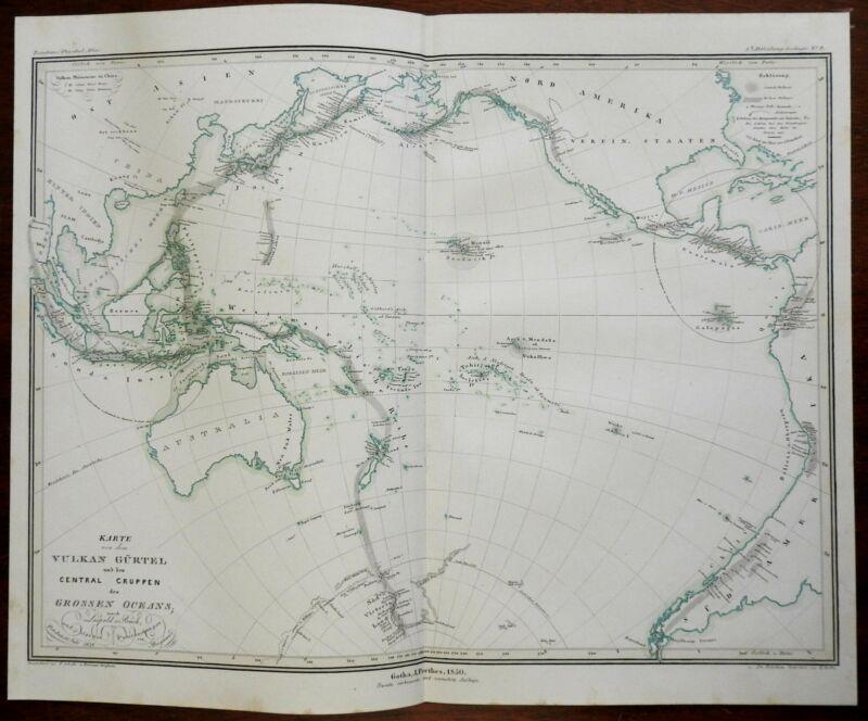 Pacific Ocean Ring of Fire Volcanoes Polynesia Hawaii Tahiti 1850 Berghaus map
