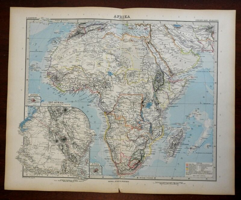 Africa Madagascar Mt. Kilimanjaro Nile River 1891 Habenicht detailed map