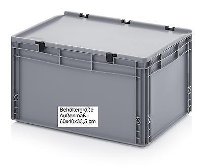 stapelbare Kunststoff Stapel Behälter mit Scharnierdeckel 60x40x33,5 Boxen Kiste ()
