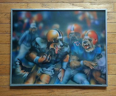 Dogs Playing Football Dan McManus Framed Poster Print 16 x 20 Sports Man Cave