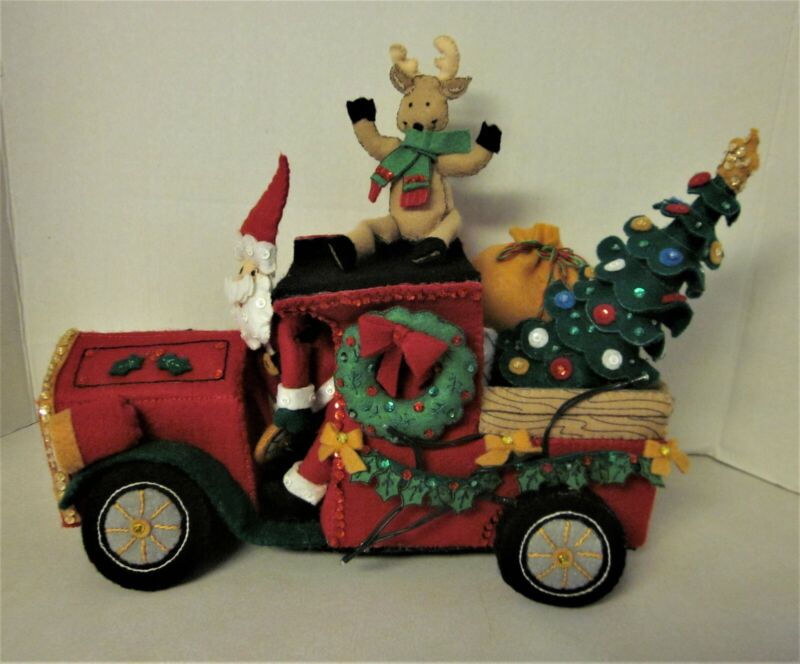 Christmas Bucilla Santa Delivery Truck with Santa, Reindeer, Lighted