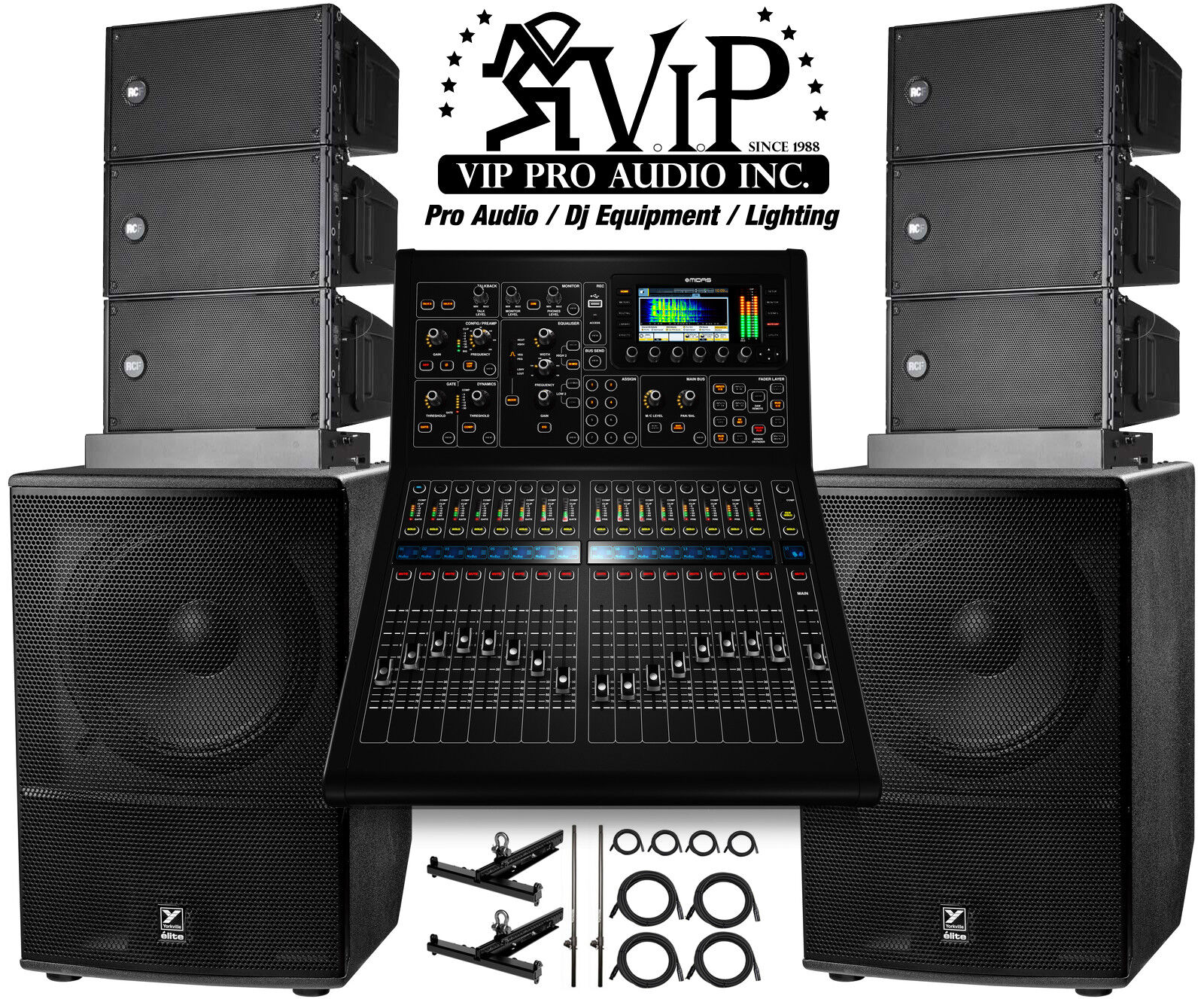 Details about 6x RCF HDL 6-A Line Array + MIDAS M32R + 2x Yorkville ES18P  Subwoofers + FLYBARS