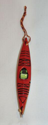 red kayak Christmas tree ornament