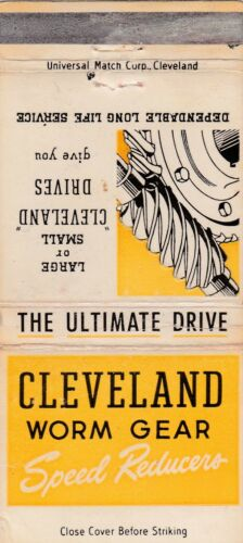 VINTAGE LARGE MATCHBOOK COVER - CLEVELAND WORM GEAR CO. OHIO - SPEED REDUCERS