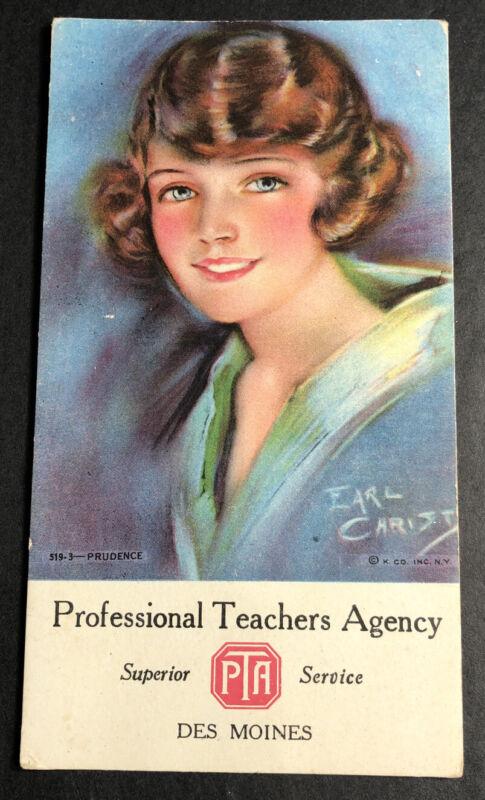Earl Christy PTA Parents Teachers Blotter Mini Sign Des Moines Iowa Pretty Girl