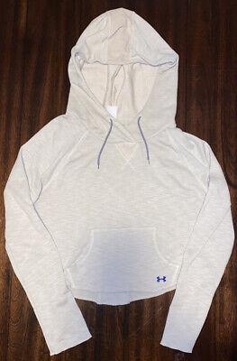 Under Armour Women's crop cropped sweatshirt pocket Hoodie Tan Medium