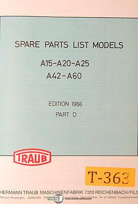 Traub A15 A20 A25 A42 A60 Mill Spare Parts Manual 1966
