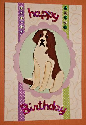 Brand New For Sale  3D Saint Bernard Dog Hand Made Card 010