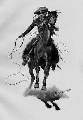 FREDERIC REMINGTON THE COW PUNCHER RIDES HIS HORSE SADDLE REINS ROPE CHAPS