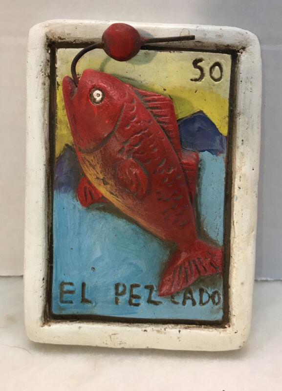 El Pezcado Red Clay Plaque Tile 3 D Fish Mexico Loteria