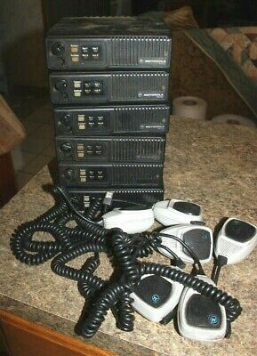 6 Motorola Maxtrac D35mqa5gb5bk 6 Microphones Powerup Untested Two Way Radio