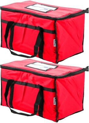 2 Pack Insulated Red Catering Delivery Food Full Pan Carrier Hot Cold Cooler Bag