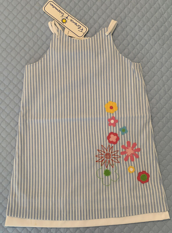 Florence Eiseman Girls 6X Blue & White Striped Floral Appliqué Shift Fully Lined