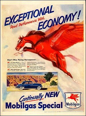 Original Print Ad 1950 Mobilgas Pegasus Stretch Your Mileage Flying Horse Art Advertising