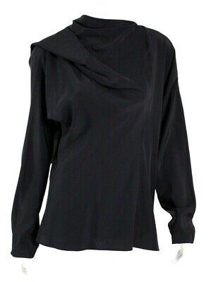JIL SANDER Black Silk Asymmetric Draped Shoulder Long Sleeve Blouse 38