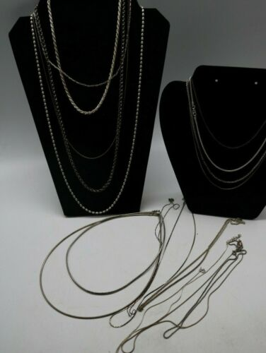Huge Lot of 17 Sterling Silver 925 Necklaces Chains Sizes & Styles 126 Grams
