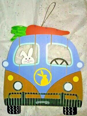 """VW BUS EASTER DECOR HANGING WOODEN VOLKSWAGEN """"RABBUS"""""""